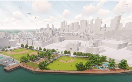 Langone & Puopolo Sunny Day Rendering for waterfront park resilient design